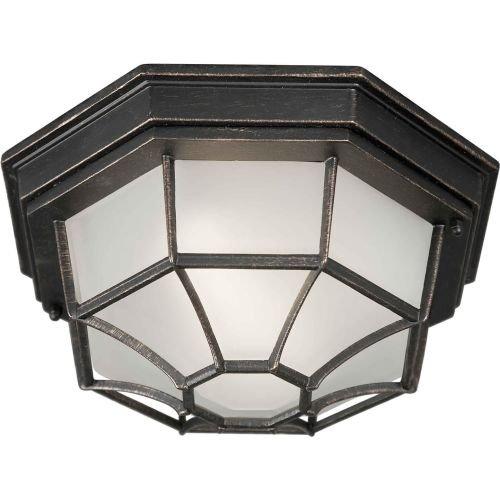 Forte Lighting 17005-01-64 Traditional 1-Light Exterior CFL Flush Mount, Bordeaux Finish with Satin White Glass