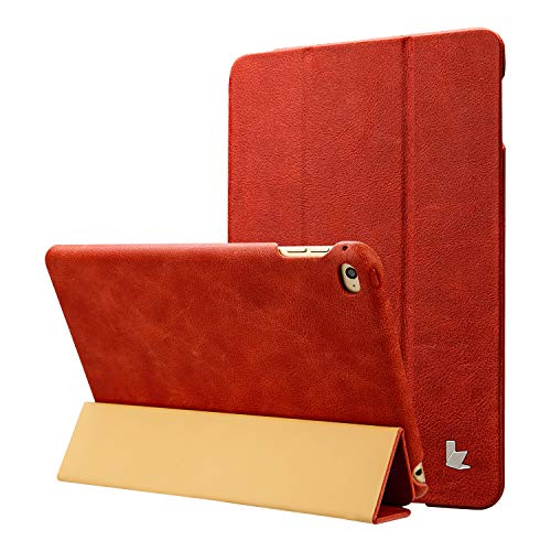 Jisoncase iPad Mini 4 Case, Leather Ultra Slim Smart-Shell Stand Cover Case with Auto Wake/Sleep for Apple iPad Mini 4 in Vintage Red(JS-IM4-01A30)