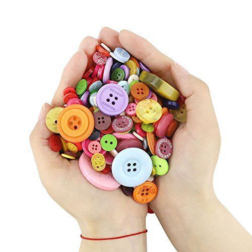 OUTUXED 800pcs Resin Buttons Assorted Buttons Craft for Manual Button Painting and DIY Handmade Ornament
