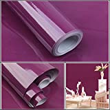 Tuscom Shiny Furniture Solid Color PVC Removable Stickers Contact Paper Self Adhesive Shelf Liner Table Door Sticker 39.3 Inch by 15.7 Inch (Purple)