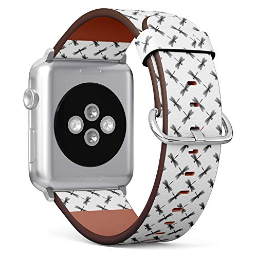 Compatible with Apple Watch iWatch (42/44 mm) // Leather Replacement Bracelet Strap Wristband + Adapters // Dragonfly Black -