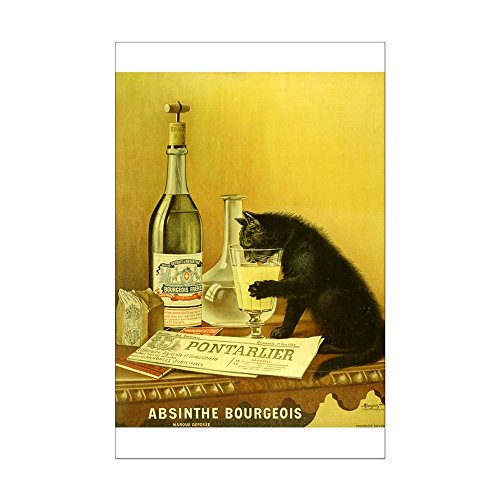 CafePress - Absinthe Bourgeois Chat Noir - Mini Poster Print