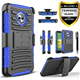Circlemalls Motorola Moto G6 Case with [Tempered Glass Screen Protector],[Not Fit Moto G6 Play/G6 Plus] Built-in Kickstand Belt Clip and Stylus Combo Holster Phone Cover (Blue)