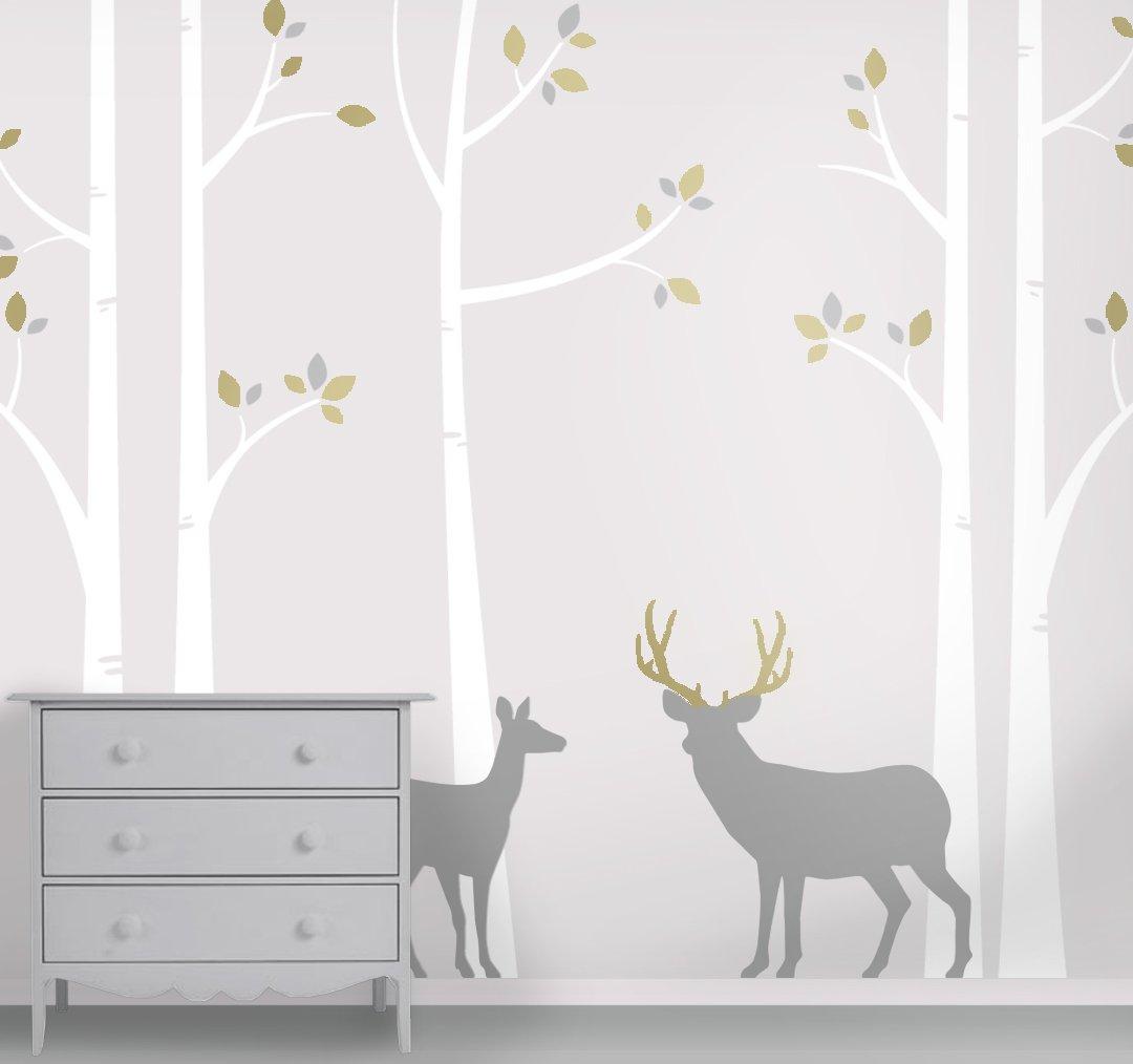 Deer and Buck Wall Mural - Birch Forest Nursery Wall Decals