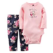 Kidsform Infant Baby Boy Girl Organic Long Sleeve Bodysuit+Pant Set Romper Jumpsuits Outfits Pink 6M