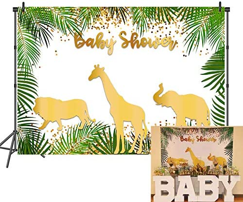 New Safari Baby Shower Backdrop Gold Animals Step and Repeat Vinyl Background 7x5 Jungle Animal Photo Booth Backdrop for Cake Table Decorations