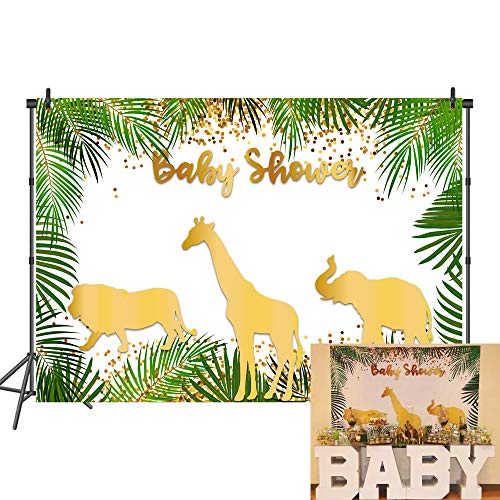 Shower Baby Safari Theme (Mehofoto Safari Baby Shower Backdrop Gold Animals Step and Repeat Vinyl Background 7x5 Jungle Animal Photo Booth Backdrop for Cake Table Decorations)