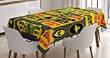 Outer Space Decor Tablecloth by Ambesonne, Warning Ufo Signs with Alien Faces Heads Galactic Paranormal Activity Design, Dining Room Kitchen Rectangular Table Cover, 60W X 90L Inches, Yellow