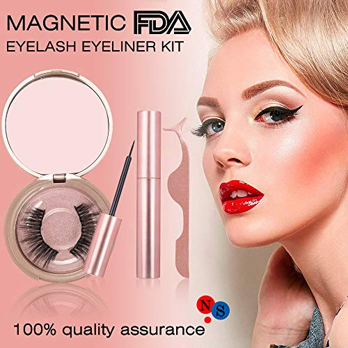 Magnetic Eyeliner Kit, Magnetic Eyeliner With Magnetic Eyelashes, Magnetic Lashliner For Use with Magnetic False Lashes(Rose gold)