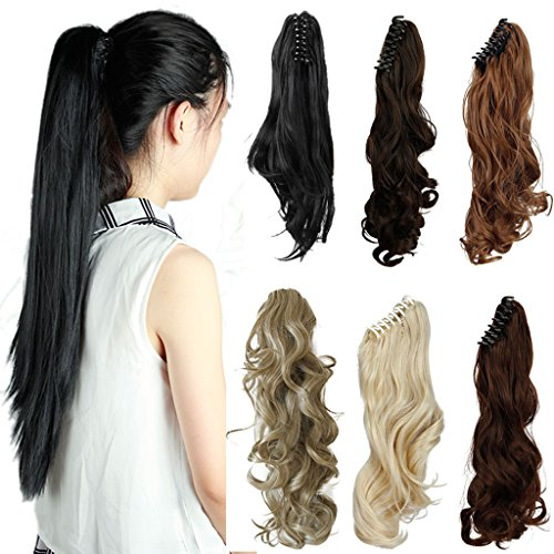 FUT 3-5 Days Delivery 18inch 150g Curly Jaw Claw Ponytail Clip in Pony Tial Hair Extensions for Girl Lady Women Dark Black