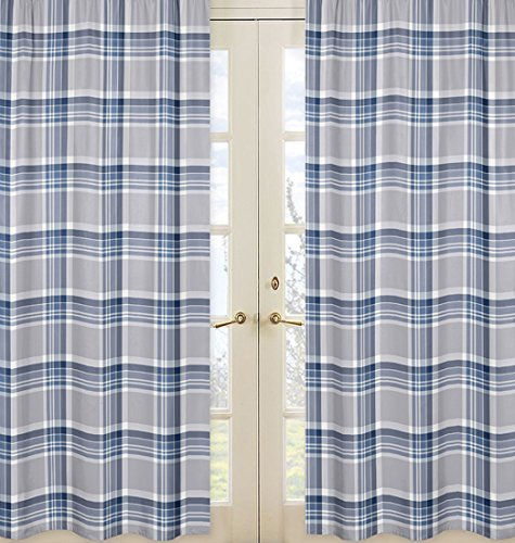 Window Treatment Panels for Navy Blue and Gray Plaid Collection