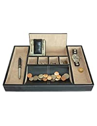 Leatherette Valet Tray Desk Dresser Drawer Coin Case Catch-all for Keys, Phone, Jewelry, Watches, and Accessories