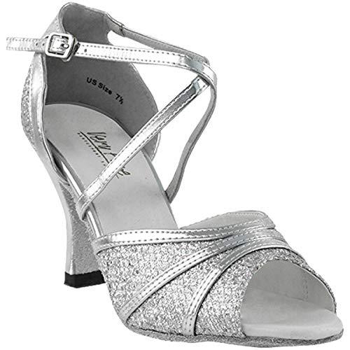 Women's Ballroom Dance Shoes Tango Wedding Salsa Dance Shoes Silver Sparklenet 6023EB Comfortable - Very Fine 2.5