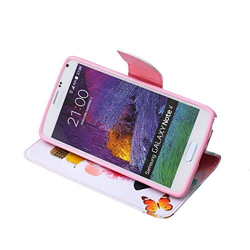 Funda Samsung Note 4, Samsung Galaxy Note 4 Carcasa Funda Cuero [Pluma Libre] Samsung Galaxy Note 4 Case Book Estilo Libro billetera con correa de cordón Magnético Folio Flip Caso pata de cabra titula Dos mariposas