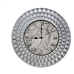 Luxurious 20 Marble Wall Clock, Perfect for Entry Way, Living Room, Dining, Bedroom Home Decor (Silver Marble)