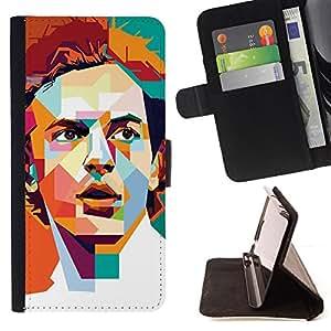 BullDog Case - FOR/Samsung Galaxy S3 Mini I8190Samsung Galaxy S3 Mini I8190 / - / POLYGON ART RETRO MAN POSTER GUY /- Monedero de cuero de la PU Llevar cubierta de la caja con el ID Credit Card Slots Flip funda de cuer