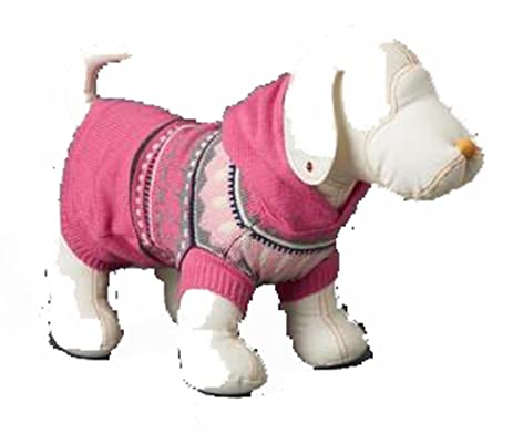 Amazon.com : Gap Pink Fair Isle Hoody Dog Sweater M/L 25-50 lbs ...