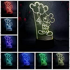 Amroe Mickey Minnie Mouse for Kid LED Night Light 7 Color Change Remote Control Desk Table Lamp Illusion Optical Bedroom Sleep Lamp