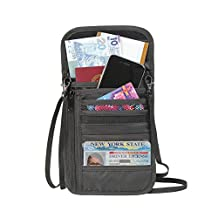 Premium Quality All in One Travel Wallet Passport Holder with RFID Blocking Neck Stash Water Proof (Black)