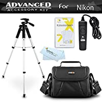 Tripod Bundle Kit For Nikon D7200, Df, D750, D5500, D5300, D3300, D5200, D3200, D5100 D7100 D600 D610 D800 D810 Digital SLR Camera Includes 57 Inch Tripod + Remote Shutter Release + Carrying Case ++