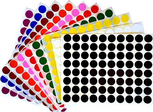 "Color Coding Labels 1/2"" Round - Dot Stickers -- Half inch rounds - 10 colors combination - Black, White, Red, Green, Yellow, Pink, Red, Orange, Brown and Blue -- 1600 pack"
