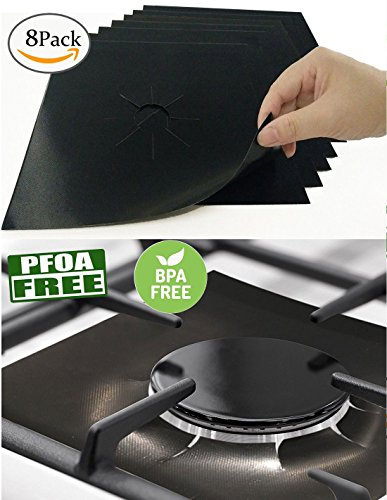 Downdraft Gas Range (8 PCS Gas Range Protectors, Cuttable Black Stovetop Burner Protector Liner Cover Cleaners 0.2 mm Thickness, Non-Stick, Dishwasher Safe, Easy to Clean for Kitchen Cooking-FDA Approved)