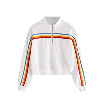 Amazon.com: Toraway- Women Fashion Quarter Zip Sweatshirts Pullover Rainbow Casual Sports Lightweigh Long Sleeve Jumper Tops Blouse: Clothing