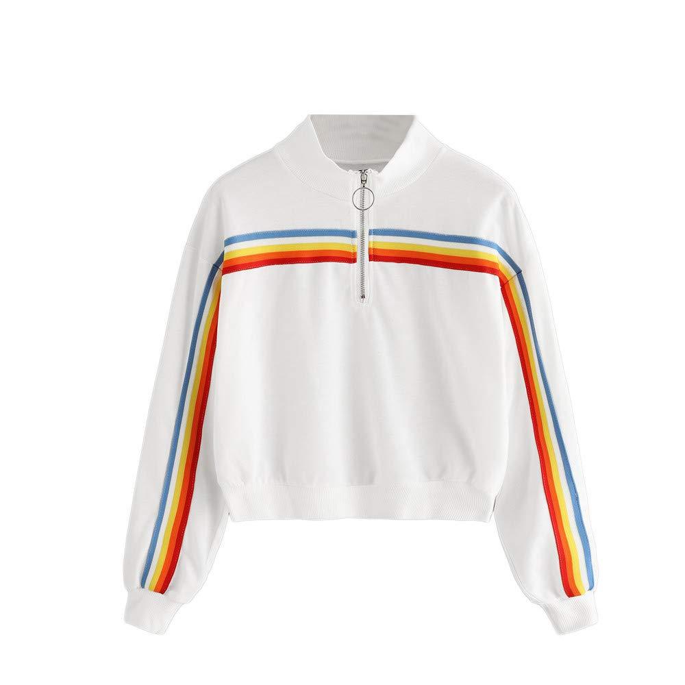 Makeupstore Women's Pullover Sweaters, Shirts Polo, Casual Womens Sweatshirt Solid Splicing Zipper Stripe Pullover Sweatshirt (White, S)