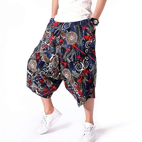Men's Plus Size Wide Crotch Harem Pants Cotton Linen Wide-Legged Bloomers Baggy Cropped Trousers Shorts Daorokanduhp