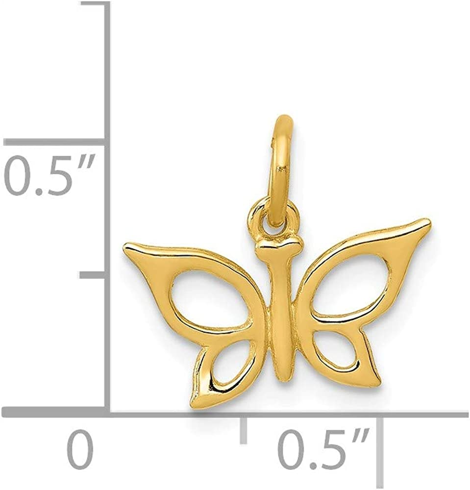 14k Yellow Gold Butterfly Pendant Charm Necklace Animal Fine Jewelry For Women Gifts For Her