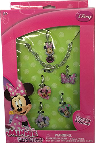 Disney Minnie Mouse Interchangeable Toggle Charm Bracelet Jewelry Gift Set with ADORABLE Necklace and 5 Charms