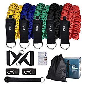 KPR Resistance Bands Set, Exercise Bands – Workout Bands with Door Anchor, Handles, Waterproof Carry Bag, Legs Ankle…