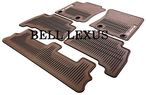 Lexus OEM Factory 5pc All Weather Floor MAT Set W/3rd Row 2014-2019 GX460 Brown