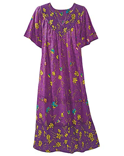National Ombre Floral Lounge Dress, Purple, 3X