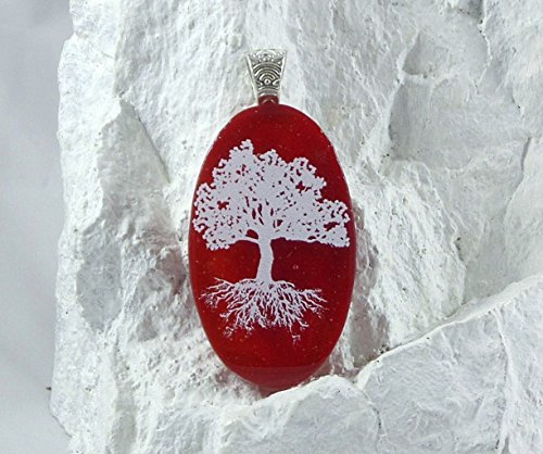 Red Oval White Tree of Life OOAK Fused Glass Pendant Necklace