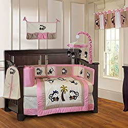 BabyFad Pink Monkey 10 Piece Baby Crib Bedding Set for girls