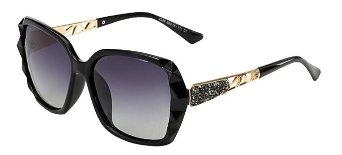 JYR Women Polaroid Diamond Frame Luxury Oversized Sunglasses Tide Elegant Fashion Eyeglasses - Tea HagJhP