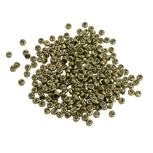 KurtzyTM 600 Gold Alphabet Beads Round Golden Letter Bead Crafts Jewellery Making