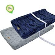 BlueSnail Plush Super Soft and Comfy Changing Pad Cover for Baby 2-Pack (navy)