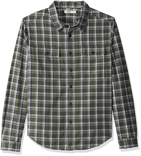 UGG Men's Anders Flannel Shirt, Army Green Plaid, L (Green Men Uggs)