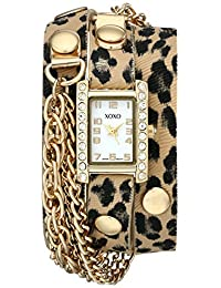 XOXO Women's XO5629 Cheetah Patterned Band with Chains Accent Double Wrap Watch