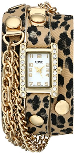 XOXO Women's XO5629  Cheetah Patterned Band with Chains Accent Double Wrap Watch - Animal Patterned Bands