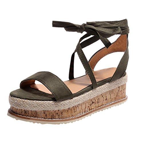 Plattform Roman Mode Damen Unten Sommer Damen 8cm Grün Dick Wasserdicht Sandalen Gewebt VJGOAL Sandalen Strand Schuhe Wedge nqSxfTw