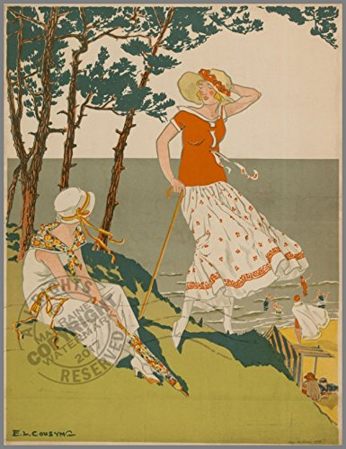 Bathers By the Sea, on a Cliff Ladies Rest Under a Shady Tree by E. L. Cousyn (1924 Magasins du Louvre Illustration) : Fine Art Poster Print (Ready to Display or Frame) Size: 12