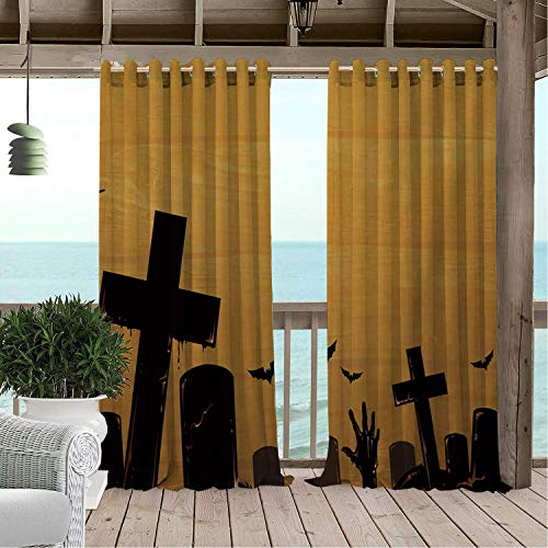 Linhomedecor Outdoor Waterproof Curtain Yellow Halloween Cemetery doorways Grommets Backdrop Curtain 108 by 72 -