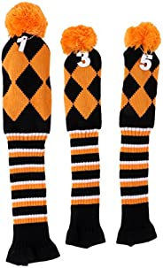 3 Pieces Golf Knit Pom Pom Headcover Driver Fairway Woods Head Covers Orange