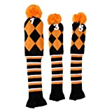 MagiDeal 3 Pieces Golf Knit Pom Pom Headcover Driver Fairway Woods Head Covers Orange