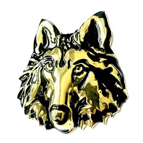 (3D Chrome Wolf Sticker Decal Auto Car Emblem Decal Decoration (Gold))