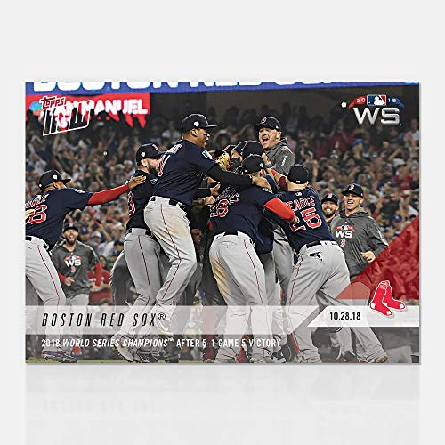 Red Boston Cards Topps Baseball Sox - 2018 BOSTON RED SOX WORLD SERIES CHAMPIONS 5-1 GAME 5 VICTORY TOPPS NOW BASEBALL CARD #957 + TOPLOADER