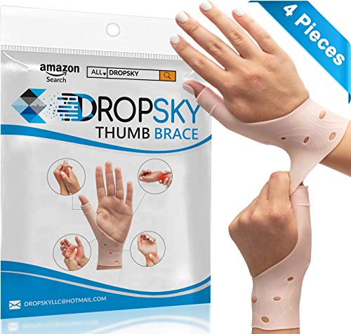 DropSky [4pcs] Gel Wrist Thumb Support Braces Soft Waterproof Breathable, Relief Pain Carpal Tunnel, Arthritis Thumb, Fits Both Hands, Lightweight, Therapy Elastic Silicone, Stabilizer Support [Nude] (Thumb Joint Support)